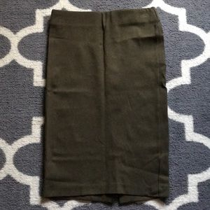 Olive Stretch Pencil Skirt XS